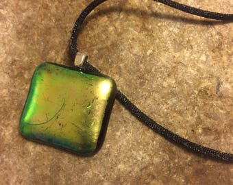 Dichroic fused glass pendant