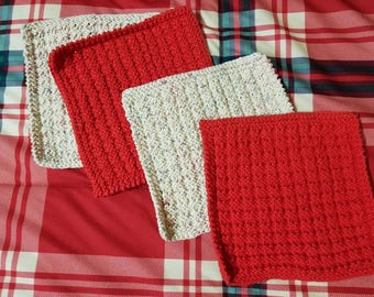 Set of 4 Knit / Crochet DishCloth Housewarming Washcloth Cleaning Cloth