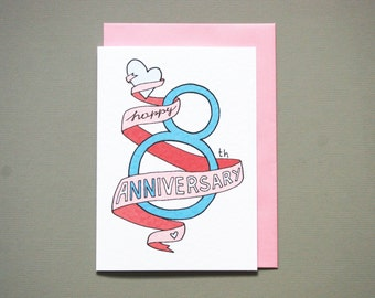 8th anniversary card * anniversary card * friends anniversary * wedding anniversary * wife husband * size A6 comes with pink envelope