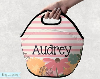Wildflower Lunch Tote - Personalized Lunch Bag for Kids, Teens, or Adults - Washable Neoprene - Pink Stripes with Flowers