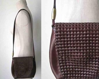 Années 1990 LIZ CLAIBORNE sac à main simili-cuir tressé marron chocolat