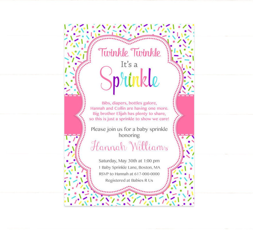 Pink Baby Girl Sprinkle Invitation Sprinkles Pink Baby
