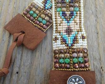 Bead Loom bracelet, boho bead Loom bracelet, bead woven bracelet, boho bead woven bracelet, Southwest bracelet, bohemian bracelet ooak,