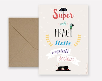 Mary Poppins Supercalifragilisticexpialidocious card - kraft envelope