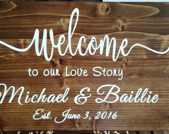 Wedding welcome sign, wood wedding sign, welcome to our wedding sign