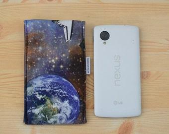 Space mobile case,smartphone case,planets case,stars mobile case,canvas mobile case,quilted case,universe mobile case,smartphone fabric case