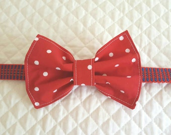 Dog Bow Tie, Red with White Polka Dots, Bow Tie, Pet Accessories, Dog Clothing, Pet Neckwear, Dogs, Pets, Bow Tie for Dog, Dog Supplies