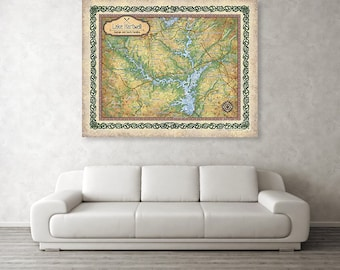 Lake hartwell, Georgia lakes, lake life, lake house, lake art, lake gifts, hartwell lake SC, SC lake map, vintage map, map gifts, lake gifts