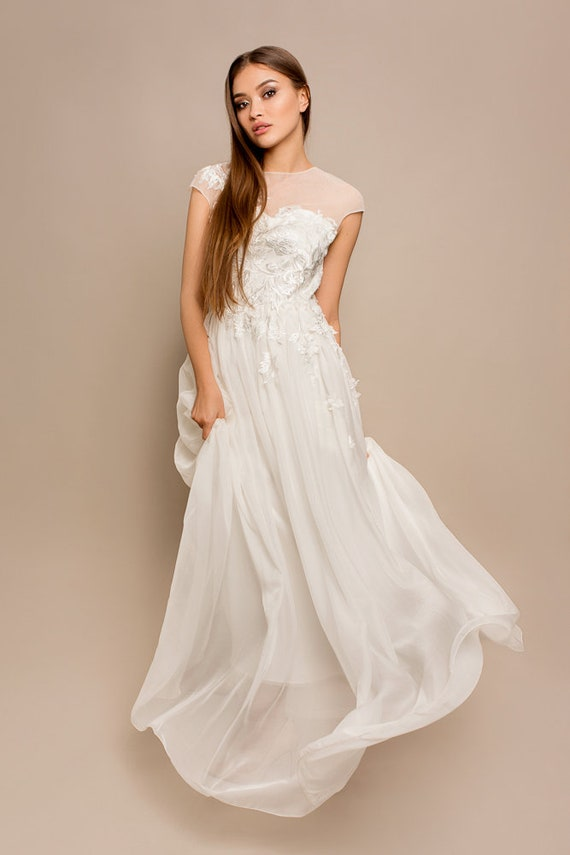 sleeves evening rustic or dress light prom dress Classic gown A wedding dress ball wedding summer bridal short princess gown line silk qHHZPS