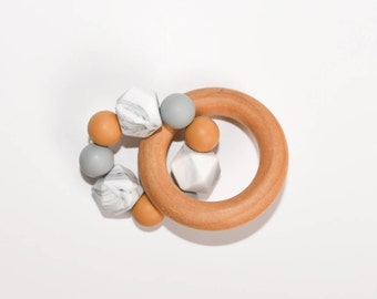 Wooden Silicone Baby Teether | Mustard+Gray+Marble