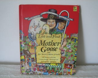 Vintage 1993 Mother Goose Colorful Mother Goose Look And Find Nursery Rhyme Book