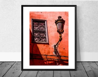 Morocco Art Print, Morocco Photography, Red Wall Window and Lamp, Marrakech, Colour Photography, Home Décor, Vibrant Print