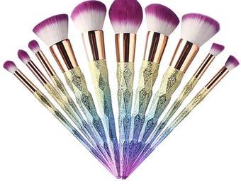 10 Piece Rainbow Diamond Pattern Makeup Brush Set
