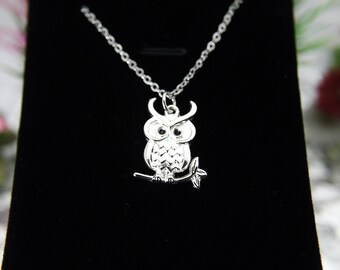 Owl Necklace, Silver Owl Charm, Bird Charm Necklace, Bird Charm, Animal Charm, Mother's Day Gift, Graduation Gift, Personalized Gift, N164