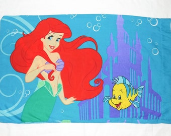 Vintage 80s The Little Mermaid Ariel Princess of the Waves Pillowcase