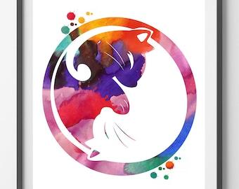 Yin Yang cats watercolor print, yin yang symbol Illustration poster, cat art, boho art love cats meditation art [N 228]