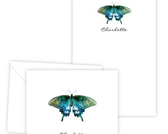Personalized Stationery Set - Folded Note Cards & Notepad - Beautiful Butterfly - Set of 10 Cards + 1 Notepad - Personalized Gift