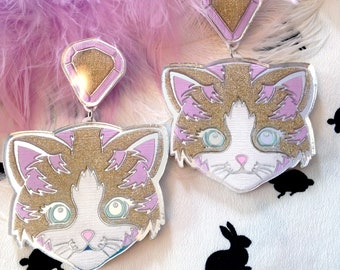 Pretty Kitty Cat Glitter and Silver Mirrored Laser Cut Acrylic Earrings