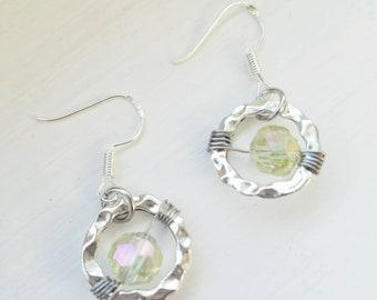 Celestial Drop Earrings, Yellow Beaded Earrings, Galaxy Earrings, Planetary Jewelry, Swarovski Crystal Earrings, Boho Glam Earrings, Hippie