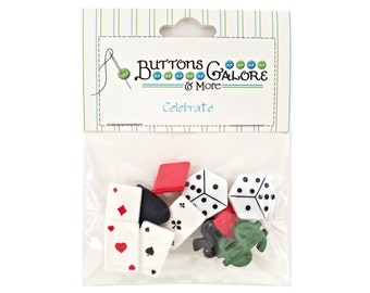 Vegas Dice Cards Buttons Galore Celebrate Collection Novelty Buttons