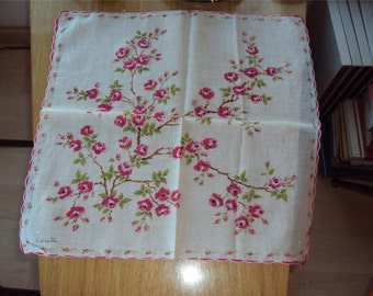 Vintage Signed Designer Hankie Handkerchief Colette Pink Flowers Print 303