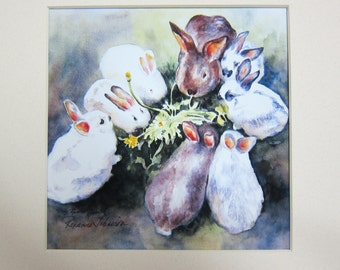 Dandelions Delight Bunnies 6 x 6 inch watercolor print - matted 10 x 10 by WatercolorsNmore