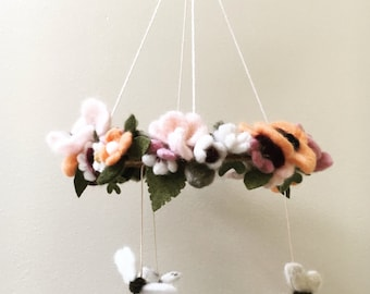Custom Floral Needle-felted Mobile