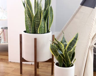 """Large Mid Century Modern Planter with solid Wood Plant Stand - 12"""" Ceramic Cylinder Pot set"""