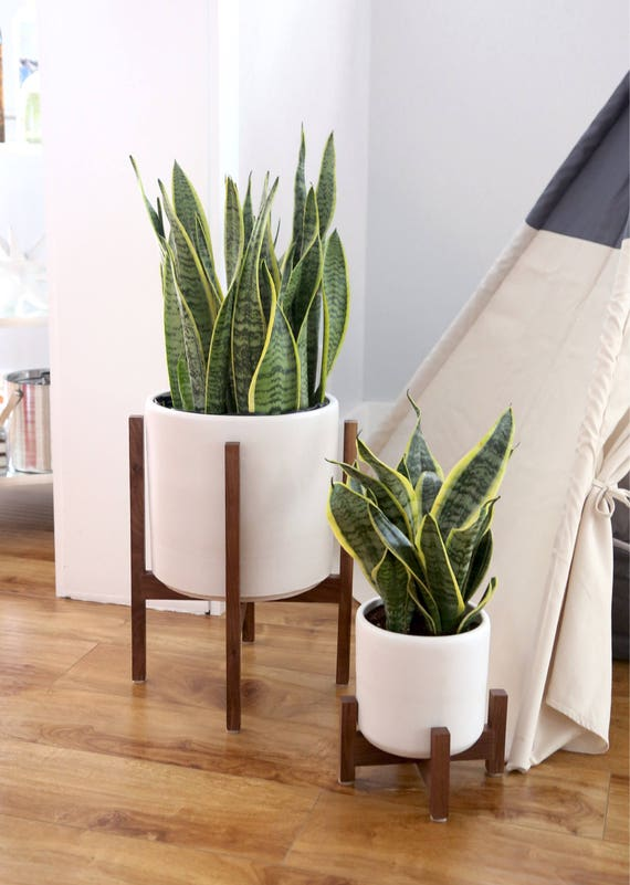 Large Mid Century Modern Planter With Solid Wood Plant Stand