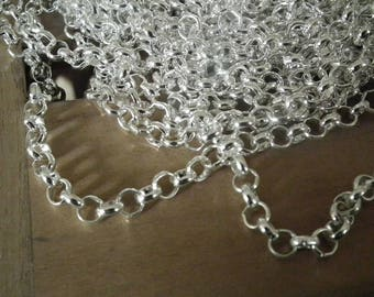 ♥ X 1 M of large chain links round 6mm argente♥