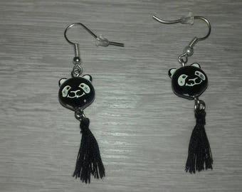 Cat Head and tassel earrings