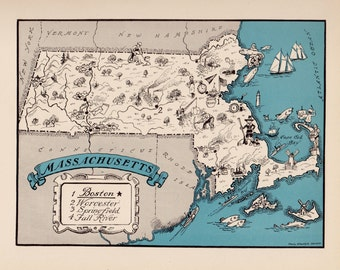 30's Vintage MASSACHUSETTS Picture Map Pictorial State Cartoon Map Print Gallery Wall Art Office Decor Map Collector Gift for Traveler