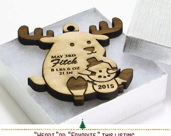 Reindeer Christmas Ornaments Personalized, Babys First Christmas Tree Ornament, Woodland Nursery Christmas Ornaments Baby Boy Gift -SKU#366
