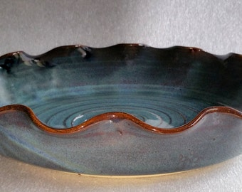 Large Blue Pie Plate - Baker - Dish - Wheel Thrown Pottery