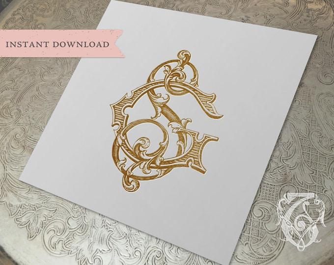 Vintage Wedding Monogram SG GS Digital Download S G