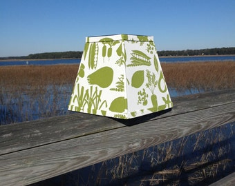 Green and White Vegetable Lampshade Square Lamp Shade