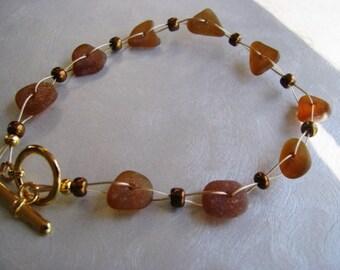 Genuine Sea Glass Jewelry -Sea Glass Bracelet - Sea Glass Jewelry - Brown Sea Glass-Mermaid Tears- Prince Edward Island Ocean Jewelry Gifts
