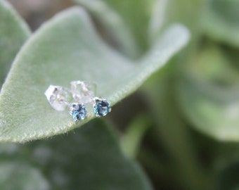 December Birthstone Gift, 3mm Blue Zircon Stud Earrings, Sterling Silver, Round Cut Gemstone, December Birthday Gift