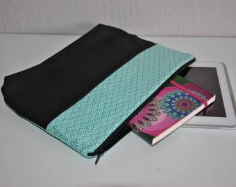 Pouch / case large format water blue-green and black
