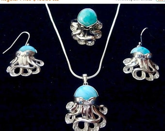 MEMORIAL DAY SALE Extraordinary Genuine Dominican Larimar/Sterling Silver Octopus Jewelry Set Free Shipping