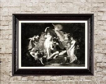 Midsummer Night's Dream, queen of the fairies, fairies, black white, black white art, fairy, fairy print, fairy decor, Shakespeare, gift,513