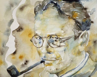 RAYMOND CHANDLER - original watercolor portrait - one of a kind painting!