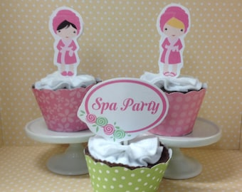Spa Manicure Party Cupcake Toppers Decorations - set of 10
