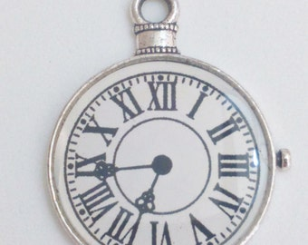 Clock pocket watch pendant silver white 40 mm charm findings supplies necklace