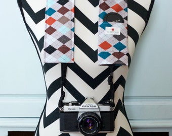 DSLR Camera Strap Cover- lens cap pocket and padding included- Dad's Tie