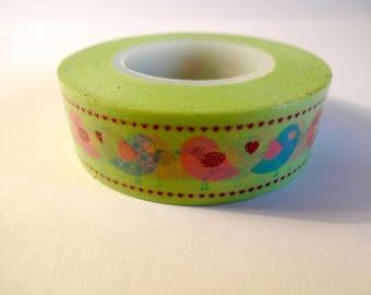 Washi tape birds colorful - green - Scrapbook - embellishment