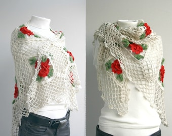 Red Roses  Shawl Scarf Triangle for women  for Girl Friend For Mom Women fashion Mothers Day Gift Under 100