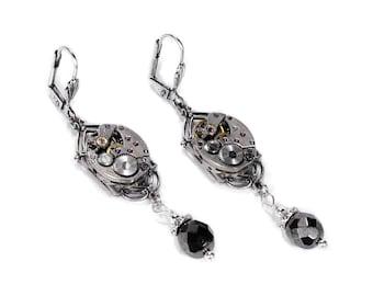 Steampunk Jewelry Steampunk Earrings Vintage Silver ART DECO Watch HEMATITE Dangle Earrings Wedding Mothers Day Gift - Jewelry by edmdesigns