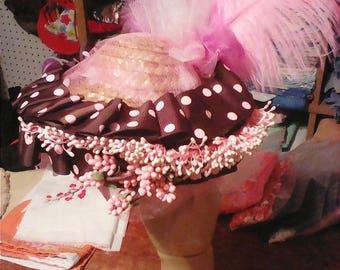Pink And Chocolate Polka Dot Mini Hat
