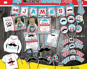 Red Blue Mustache Birthday Party Package-Mustache Party-mustache First Birthday-1st Birthday invitation-Barbershop party-Little man party